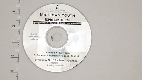 Thumbnail for entry Audio Recordings > Michigan Youth Ensembles > March 10, 2008 > Band                 Concert, Disk 2 of 3