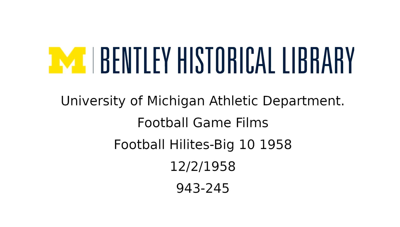 Football Hilites-Big 10 1958