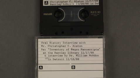 """Thumbnail for entry Oral History Interview with Mr. Christopher C. Alston regarding the """"Inventory of Negro Manuscripts"""" at the Bentley Historical Library; Interview conducted by Dr. William McAdoo in Detroit. [Side 2]"""
