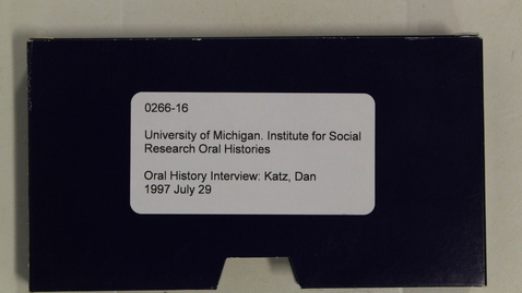 Thumbnail for entry Oral History Interview: Katz, Dan