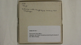 Thumbnail for entry Interview with Hubert Humphrey concerning the issues of the 1968 campaign. [Part 1]