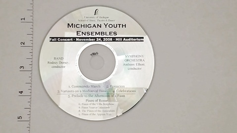 Thumbnail for entry Audio Recordings > Michigan Youth Ensembles > November 24, 2008 > Band                 Concert and Symphony Orchestra, Disk 2 of 2