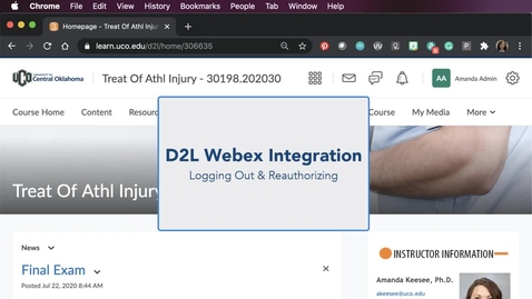 Thumbnail for entry D2L Webex Integration - Logging Out & Reauthorizing