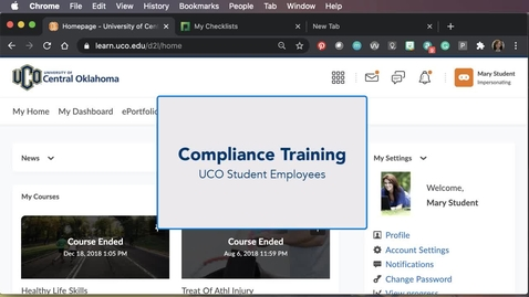 Thumbnail for entry Student Employee Compliance Training