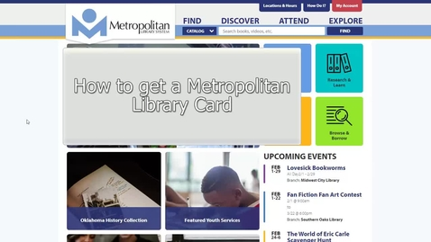 Thumbnail for entry Metro Library - How To Get A Card