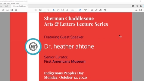 Thumbnail for entry Sherman Chaddlesone Arts and Letters Lecture: Dr. heather ahtone, senior curator of the First Americans Museum