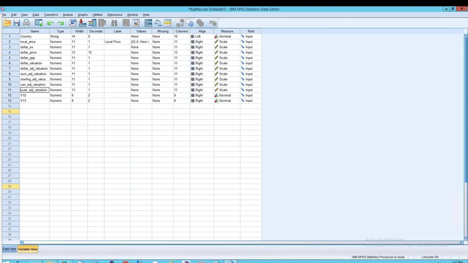 SPSS: Statistics: Copy and Paste Data and Variable