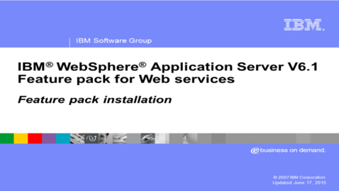 Thumbnail for entry Feature pack for Web services installation