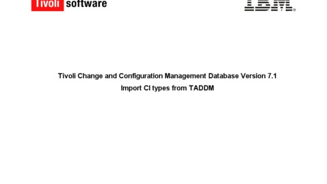 Thumbnail for entry How to import CI Type data from TADDM