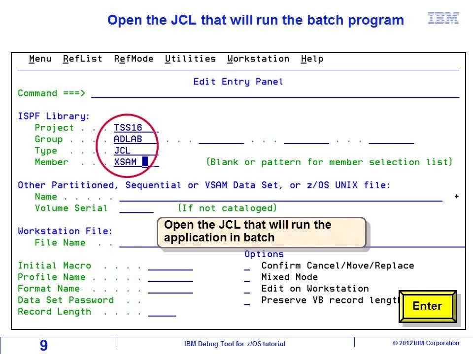 Display the debugger on a TIM (Debug Tool terminal interface