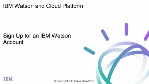 Thumbnail for entry IBM Watson: 注册 Watson Studio 和 Watson Knowledge Catalog