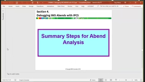 Thumbnail for entry Unit 2, video 4: Summary of abend analysis steps