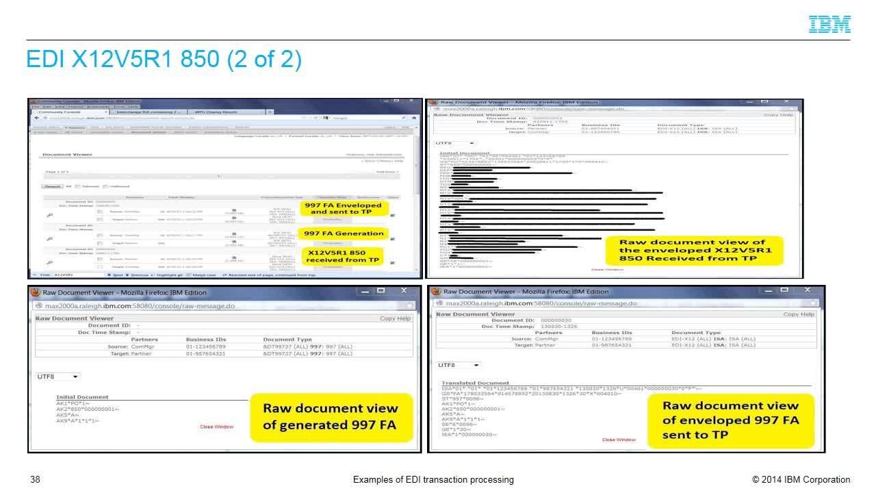 Examples of EDI transaction processing - IBM MediaCenter
