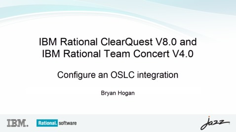Thumbnail for entry Configure an OSLC integration between Rational ClearQuest and Rational Team Concert