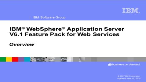 Thumbnail for entry Feature pack for Web services