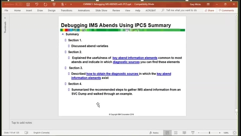 Thumbnail for entry Unit 5, video 1: Investigating an 0C4 abend by using IPCS, part 1