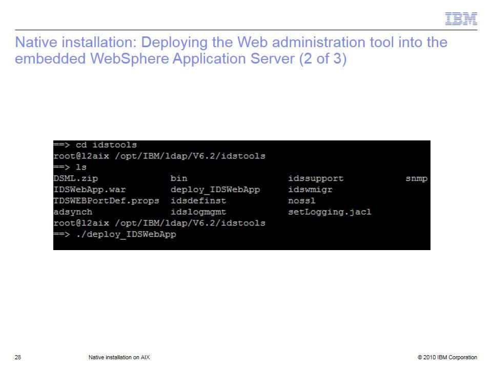 Native installation on AIX - IBM MediaCenter