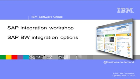 Thumbnail for entry SAP Business Warehouse and integration options