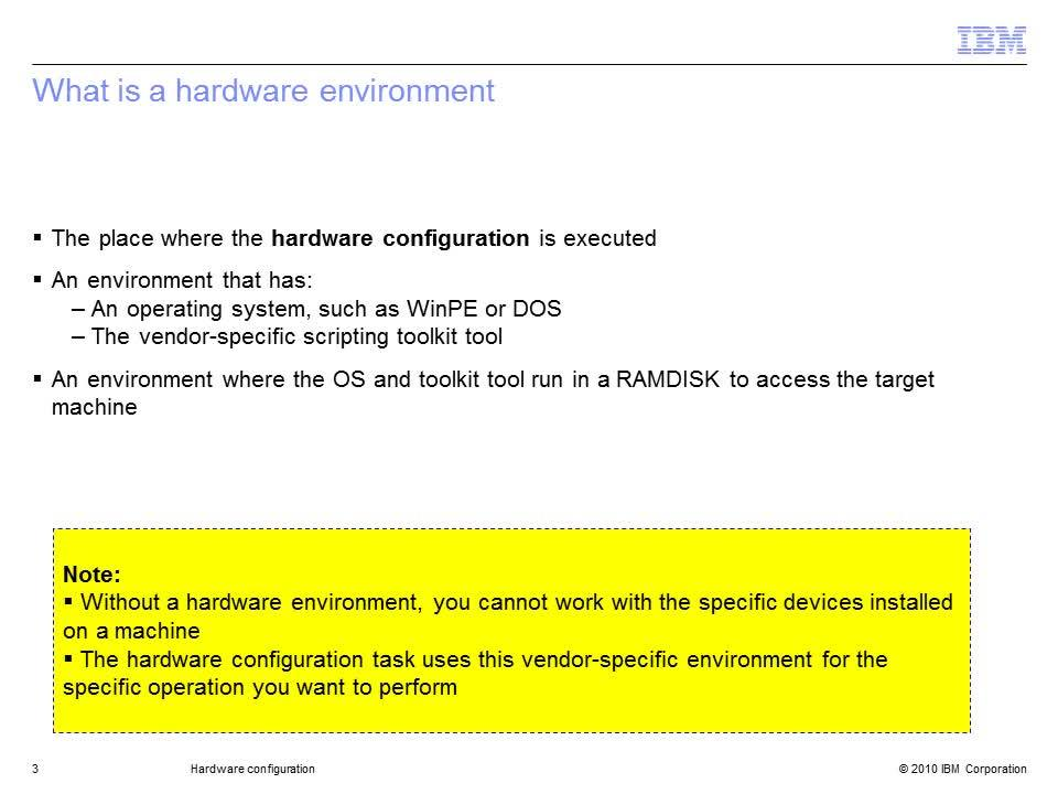 Hardware configuration - IBM MediaCenter