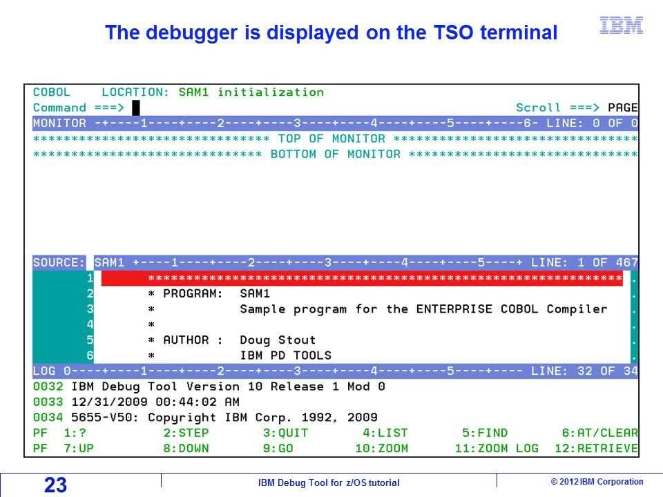 Use the 'Debug Tool setup file' online panels to debug a program