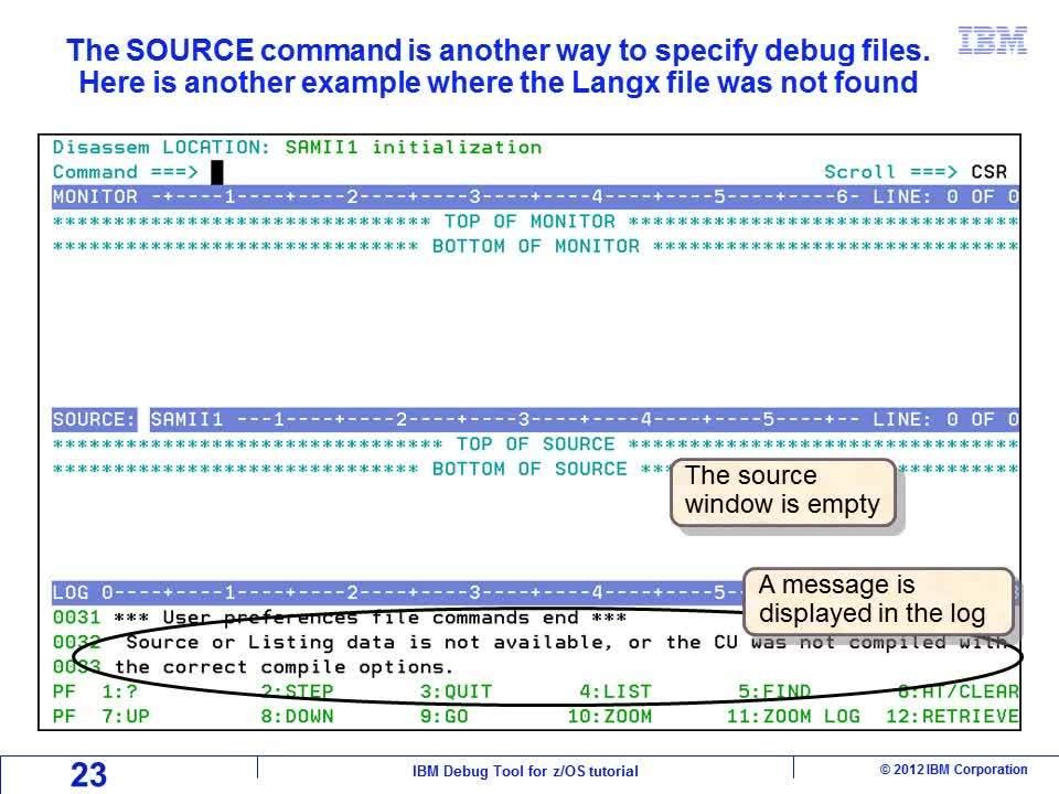 Loading program debug files - IBM MediaCenter