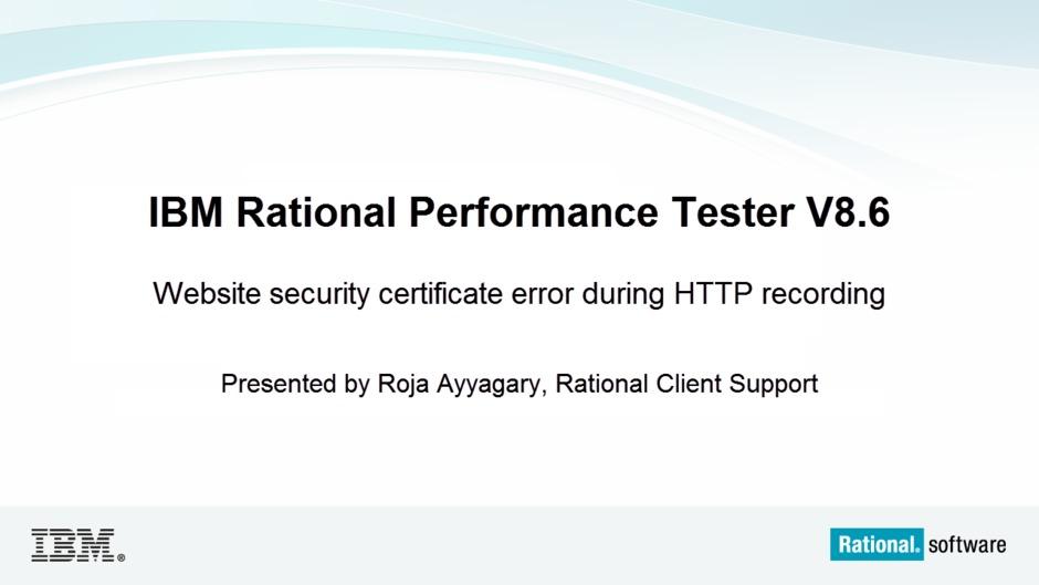 Website Security Certificate Error During Http Recording Ibm