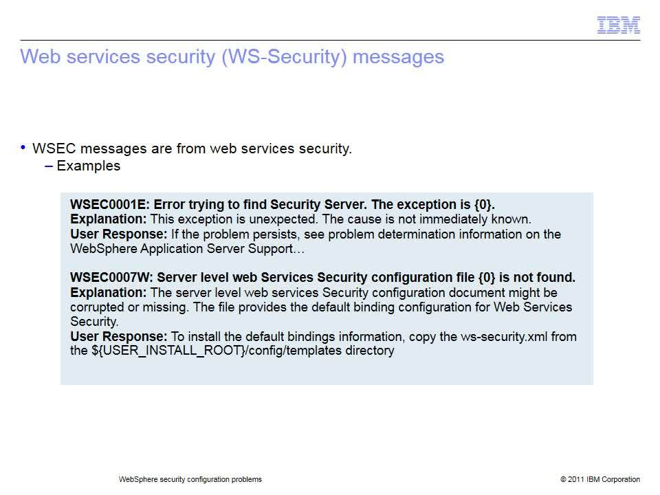 WebSphere security configuration problems - IBM MediaCenter