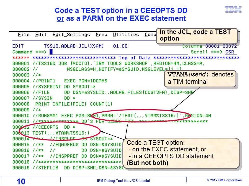 Display the debugger on a dedicated TIM terminal - IBM