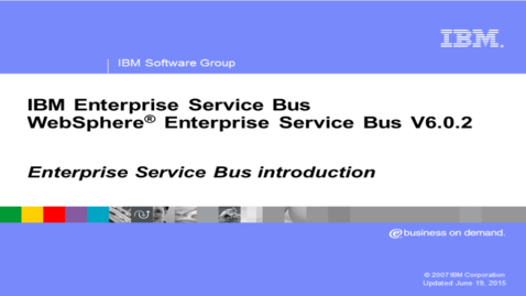 Thumbnail for entry Enterprise Service Bus introduction