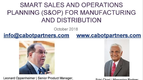 Thumbnail for entry Smart sales and operations planning (S&OP) for manufacturing and distribution