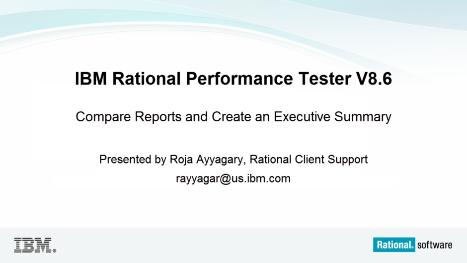 Compare Reports and Create an Executive Summary in Rational ...
