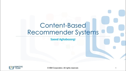 Thumbnail for entry Content-Based Recommender Systems