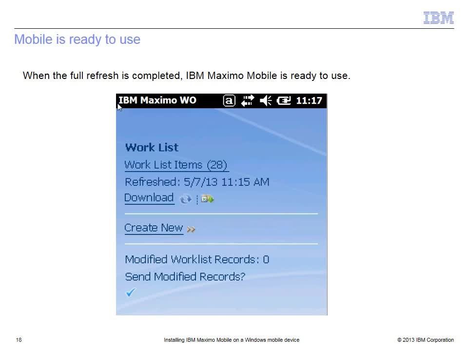 Installing IBM Maximo Mobile on a Windows mobile device