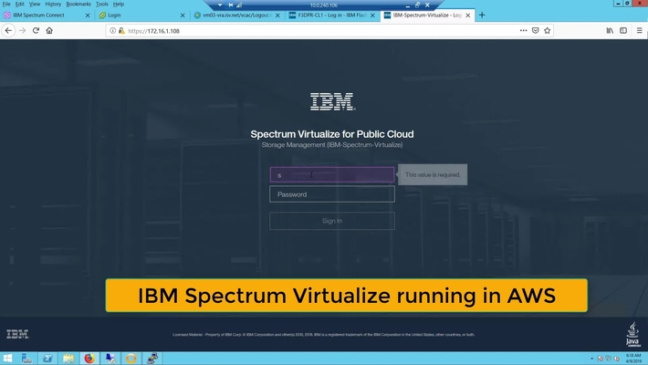IBM Spectrum Virtualize running in AWS