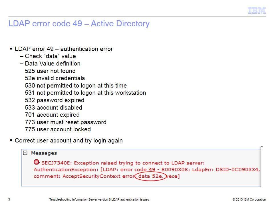 Troubleshooting Information Server version 8 LDAP