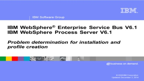 Thumbnail for entry Profile management tool and installation problem determination