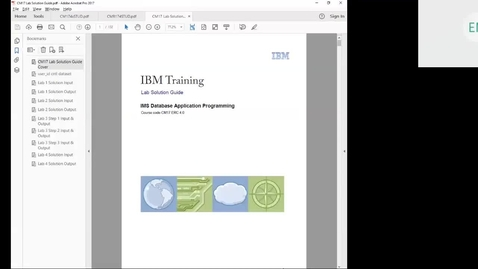 Thumbnail for entry Course CM17 IMS DB Application Programming Unit 4 Part 2 Lab 2 (DL/I Update Calls)