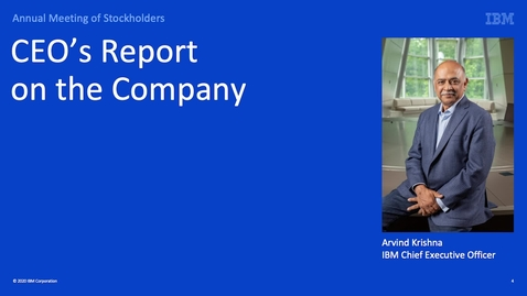 Thumbnail for entry 2020 Annual Meeting of Stockholders: CEO Report on Company