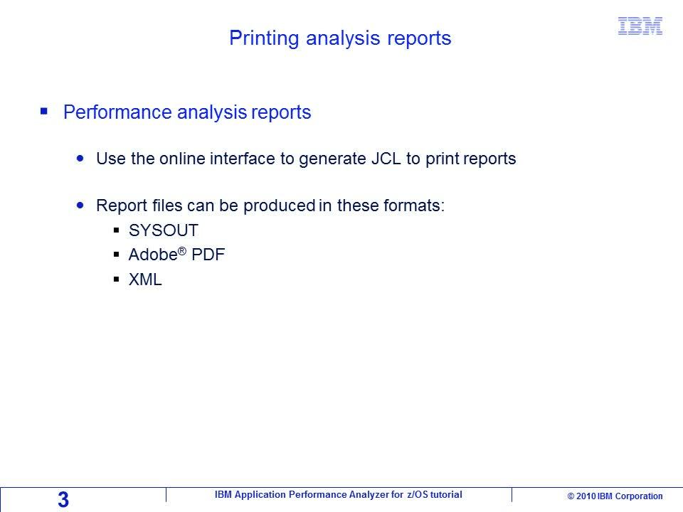 Chapter  Printing Analysis Reports  Ibm Mediacenter