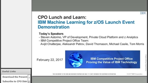 IBM Machine Learning on z/OS Launch Event Demonstrations