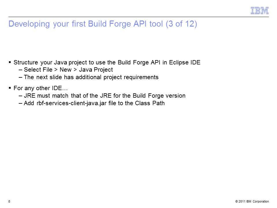 Java API for Rational Build Forge - IBM MediaCenter