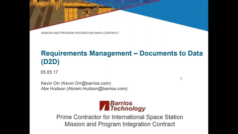 Thumbnail for entry Requirements Management: DOORS on the International Space Station