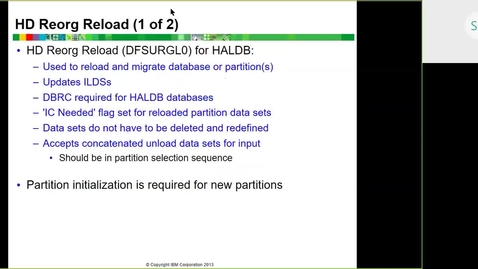 Thumbnail for entry Course CMW46 IMS HALDB Unit 7b (Database Utilities with HALDB)