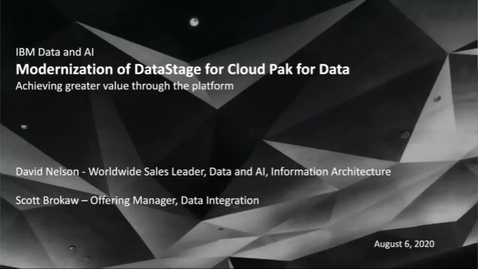 Thumbnail for entry DataStage for Cloud Pak for Data Modernization Upgrade