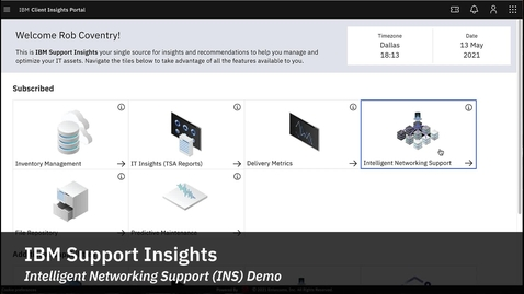 Thumbnail for entry IBM Support Insights - Intelligent Networking Support (INS) Demo
