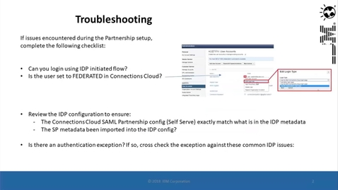 Thumbnail for entry Troubleshooting for SAML with IBM Connections Cloud