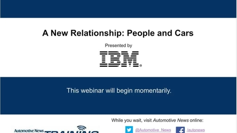 Thumbnail for entry A New Relationship: People and Cars