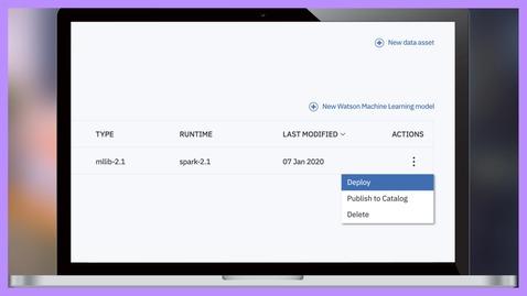Thumbnail for entry Exécutez des modèles d'IA avec IBM Watson Machine Learning