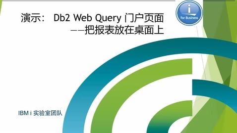 Thumbnail for entry Db2 Web Query門戶頁面,把報表放在桌面上(下拉觀看更多相關視頻↓↓↓)