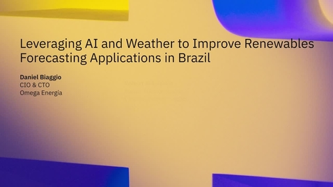 Thumbnail for entry Leveraging AI and weather to improve renewables forecasting applications in Brazil
